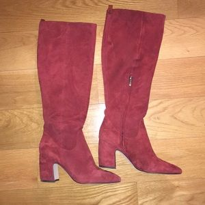 Knee high burgundy boots